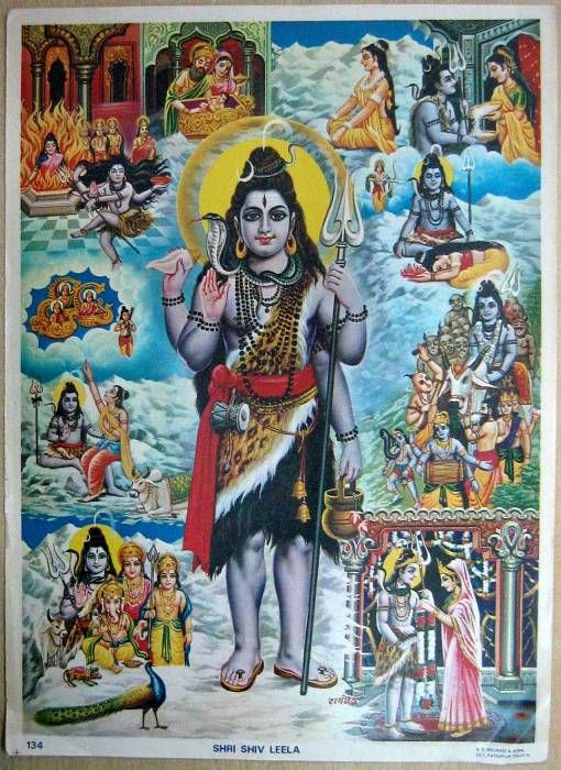 A religious poster that depicts Shiva's family history - Shiva - Wikipedia, the…