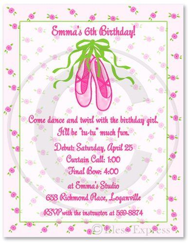 Dance Ballet Birthday Party Invitations - Set of 20 by BlessExpress. $18.00. Set the stage for your little girl's ballerina party with this delightful invitation. They are TuTu cute! Featured with a delicate pink floral background and bright pink text. These ballerina invitations will steal the show.