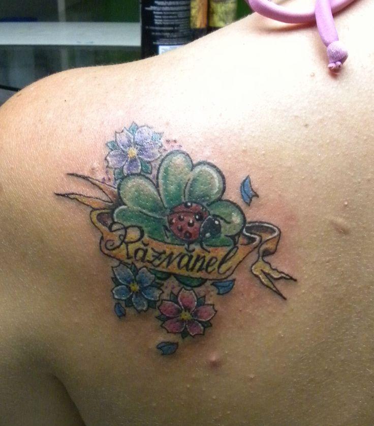 #quadrifoglio#coccinella#fiori ciliegio#tatuaggio