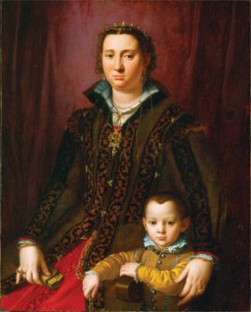 Follower of Agnolo Bronzino  Antonio Montalvo's Wife, and One of His Sons    Maybe for the the glazed pink and purpley brown. Do green trim?  Pink sottana,   about 1560-1565  oil on panel