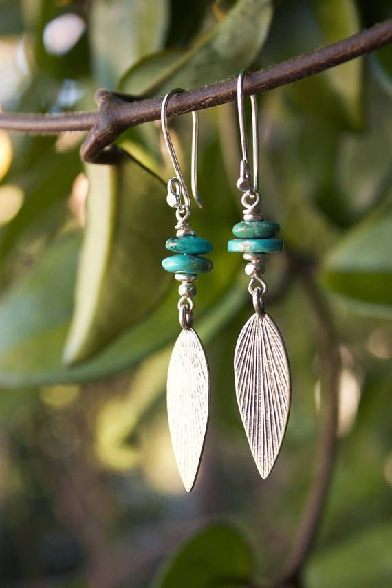 Genuine Turquoise Leaf Earrings with Thai Hill Tribe Silver