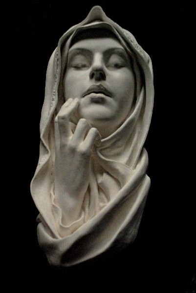 The Blessed Virgin Mary, Immaculate. Sculpture Wall Hanging Art. $500.00, via Etsy.