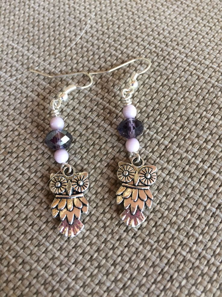 Cute pewter owl earrings with purple Swarovski crystal and lavender accents by RealBeadDesigns on Etsy
