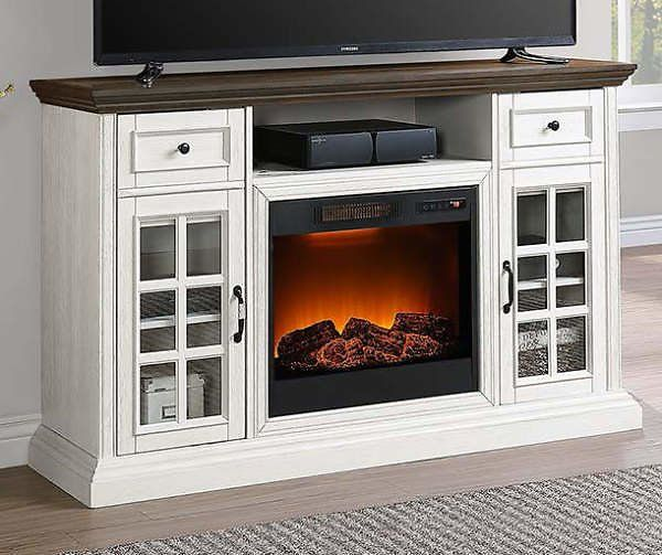 White Brown Two Tone 60 Console Electric Fireplace Big Lots Dealsplus Fireplace Tv Stand Decor Big Lots Fireplace Electric Fireplace White electric fireplace entertainment center