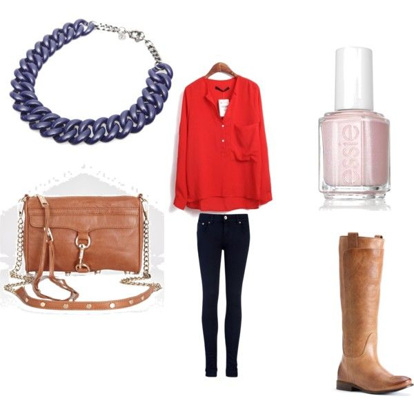 Cute red and blue look for fall.