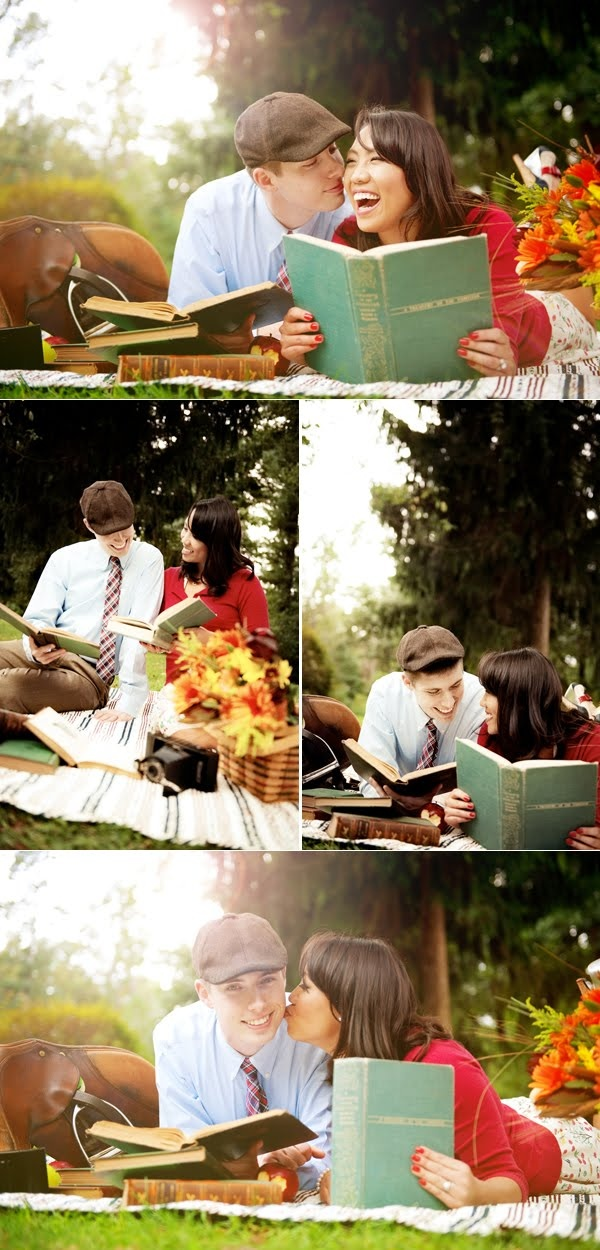 anniversary photo shoot idea - with our wedding album or scrapbook to look at