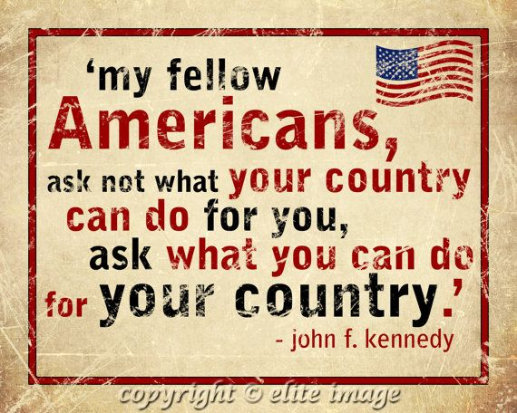 8x10 MY Fellow AMERICANS quote by US President John F Kennedy on grunge old parchment paper - 8x10 Print