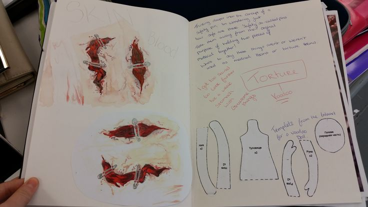 Sketchbook page on my thoughts about a safety pin being not to safe and used in a torturous manner