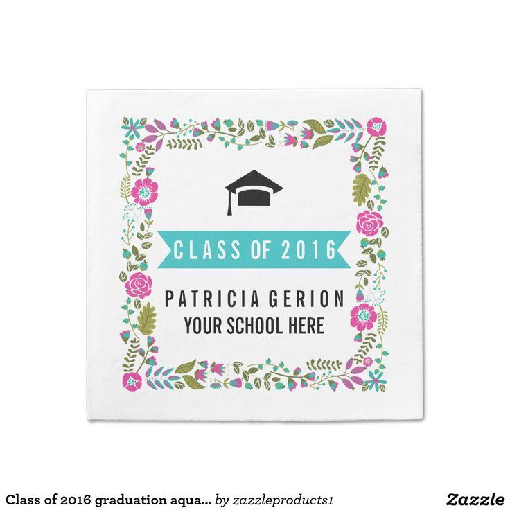 #Classof2016 #graduation aqua, pink floral border standard #papernapkin