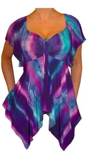 Funfash Plus Size Purple Empire Waist Top Shirt Clothing Women's Blouse