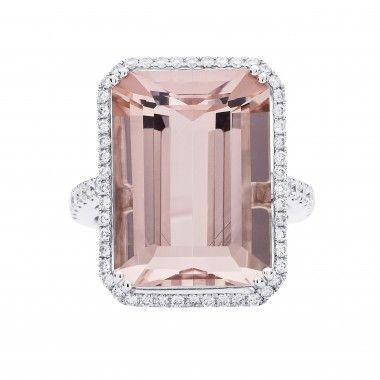 18WG PINK MORGANITE & DIAMOND RING