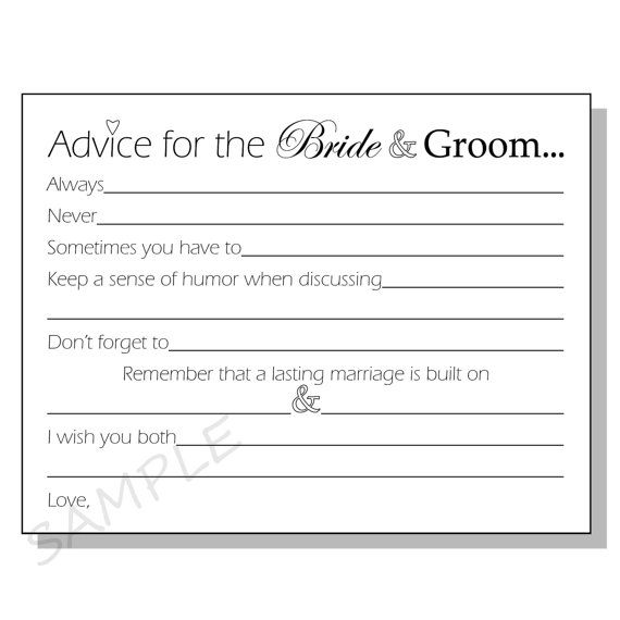 Diy advice for the bride groom printable cards for a for Bridal shower advice cards template