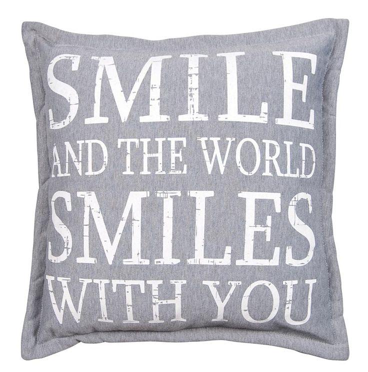 Sierkussen Sid: landelijk stoer kussen voor op bed of op de bank, in wit en grijs #words #smile