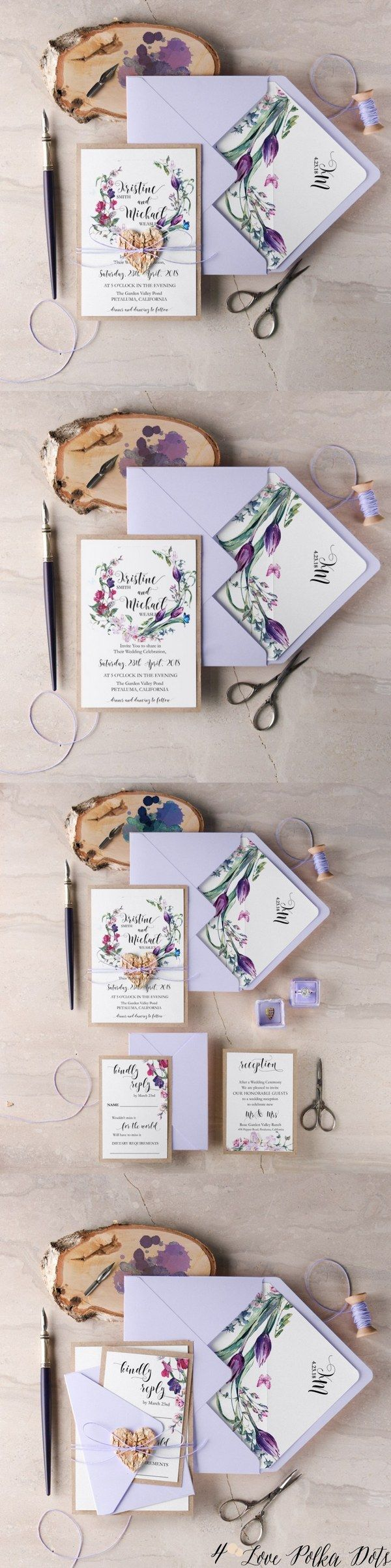 Lavender purple watercolor wedding invitations #purplewedding #lavenderwedding