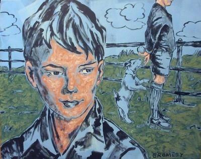 "DAVID BROMLEY ""Boy and Dog"" Acrylic on Canvas, Signed 120cm x 150cm."
