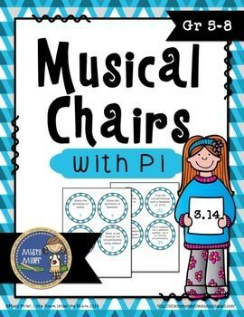 Pi Day Musical Chairs is a game similar to musical chairs. It involves music and Pi Day math! There are 32 cards with problems involving area of a circle and circumference and other questions pertaining to circles (area, circumference, radius, diameter). Place seats in a circle, put the cards on each seat, and add some music. Practicing math in an entertaining way! $ gr 5-8
