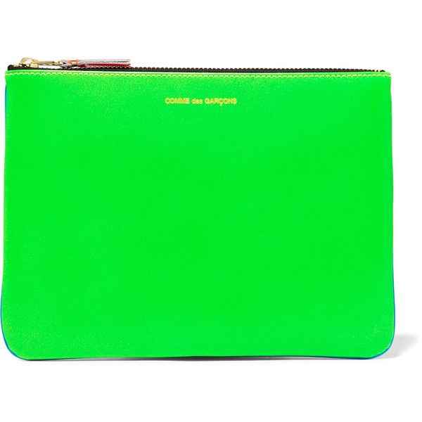Comme des Garçons Neon leather pouch (€98) ❤ liked on Polyvore featuring bags, handbags, clutches, bright blue, leather zipper pouch, zipper pouch, zippered leather tote, zip tote bag and zipper tote