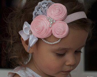 Pink  Vintage Headband/Child Headband /baby Girl Headband /Photo prop Headband