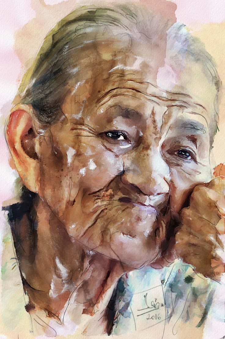 https://flic.kr/p/PCEyvN | Old lady's portrait | Mixed media - Giclée - Paper - 37x56 cm By: Zsigmond István - Hungary - 2016