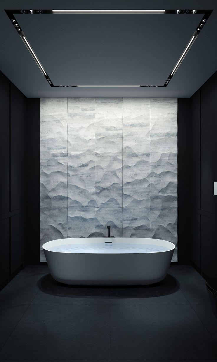Agatha O | Minimalist masculine bathroom in black and white  BATHROOM | KERZMAN #marble #minimalist #shadows
