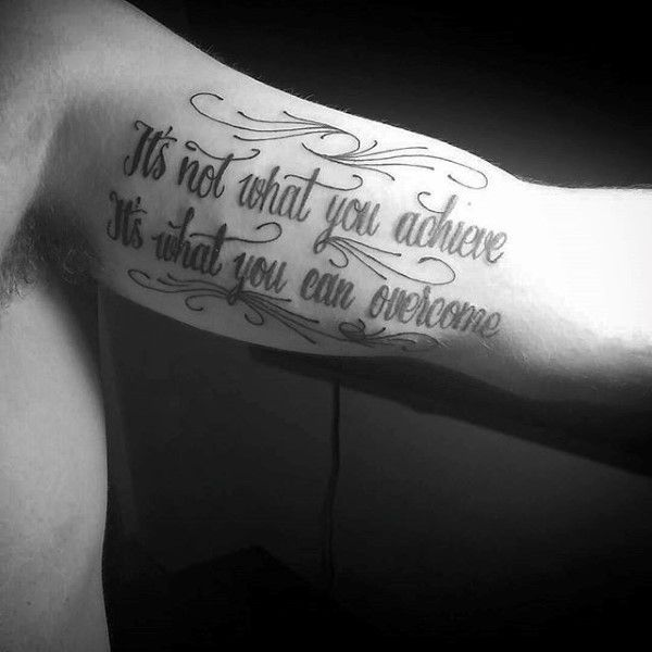 Tattoo Quotes With Cross: Black Quote Tattoo Men Inner Biceps #Samoantattoos