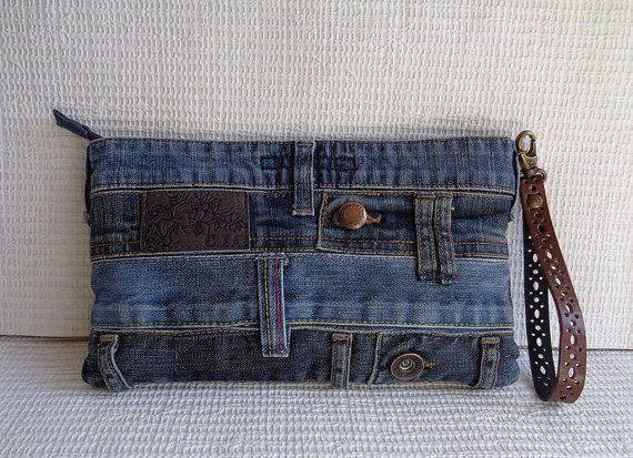Denim clutch wristlet make up cosmetic zipper bag by BukiBuki