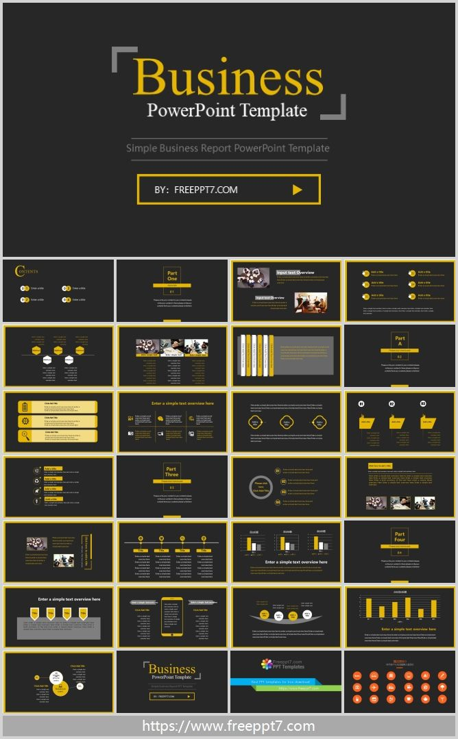 Black Business Powerpoint Template Using Black And Yellow Collocation Black Appears Calm Business Powerpoint Templates Powerpoint Templates Free Ppt Template