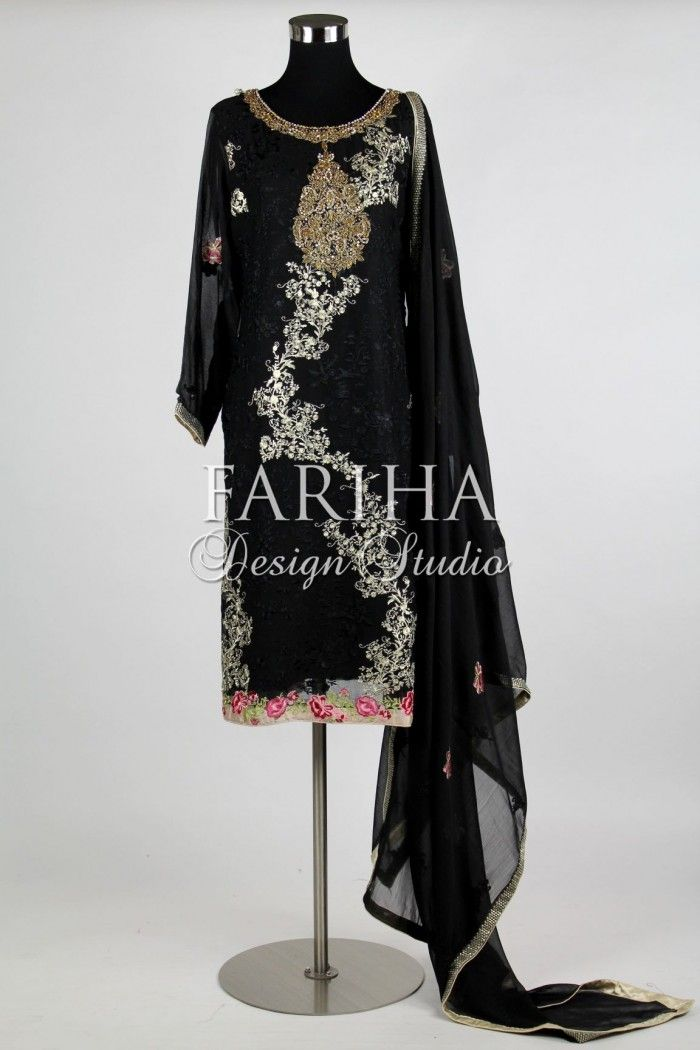 BLACK EMBROIDERED CHIFFON WITH HAND WORK