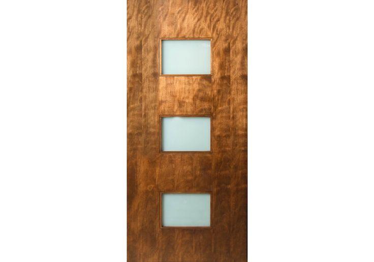 POOL DOOR IDEA .. WHAT IF WE DO A DOOR LIKE THIS . REVISED SLIGHTLY SO DOG DOOR IS IN THE BOTTOM SQUARE?           3 Rectangle Lite Door With Laminate Glass | Lux | ETO Doors - Exterior Entry Doors