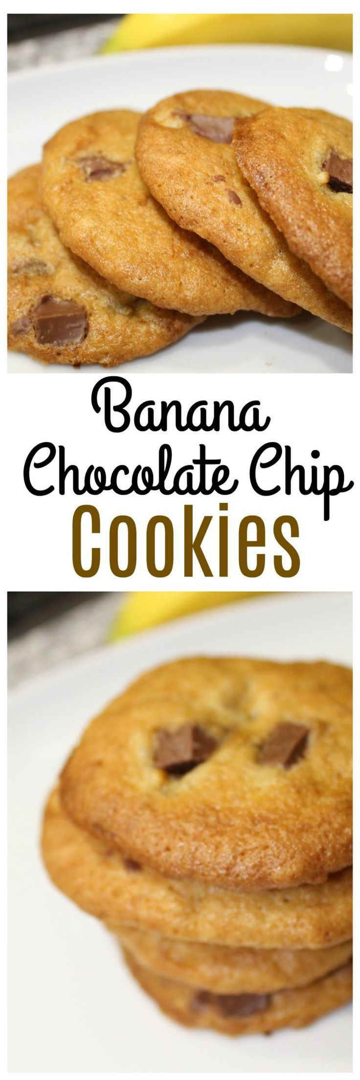 Simple and tasty Banana Chocolate Chip cookies are a nice combination of flavors - think of a chocolate covered banana in cookie form!     #banana #chocolatechip #cookies #recipe