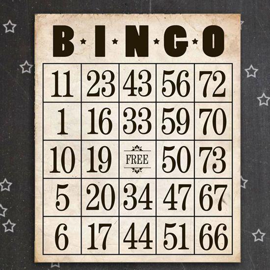 vintage inspired printable bingo cards