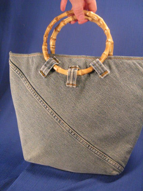 Bucket Tote Bamboo Handled Recycled Jeans Clean Lines Exquisite Detailing Fully Lined Stylish Bag for Your Essentials. $40.00, via Etsy.