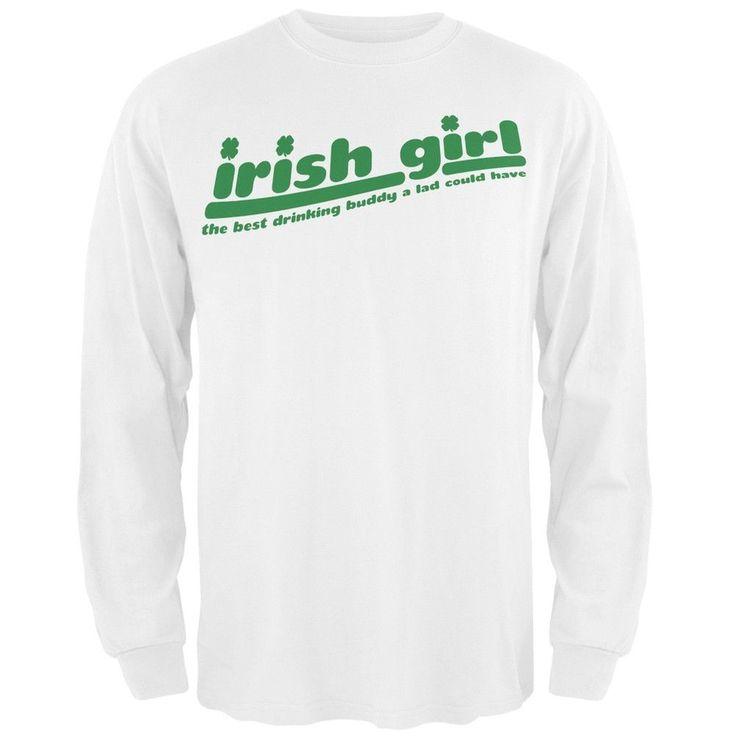 Irish Girl Drinking Buddy White Adult Long Sleeve T-Shirt