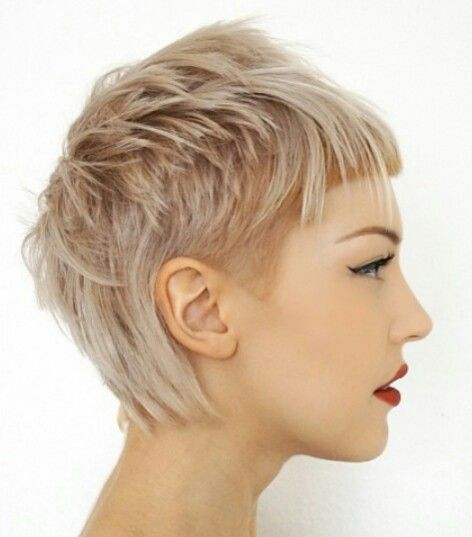 "blonde layered pixie with undercut and bangs ""mull…"