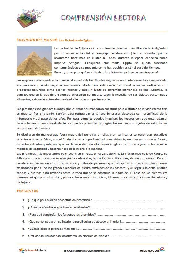 Fichas de compresión lectora para primaria: Las pirámides de Egipto.