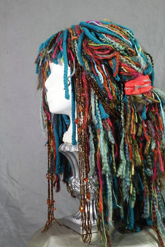 Tokyo 'pop' yarn wig/ wearable art by LeReneeDesigns on Etsy, $89.00
