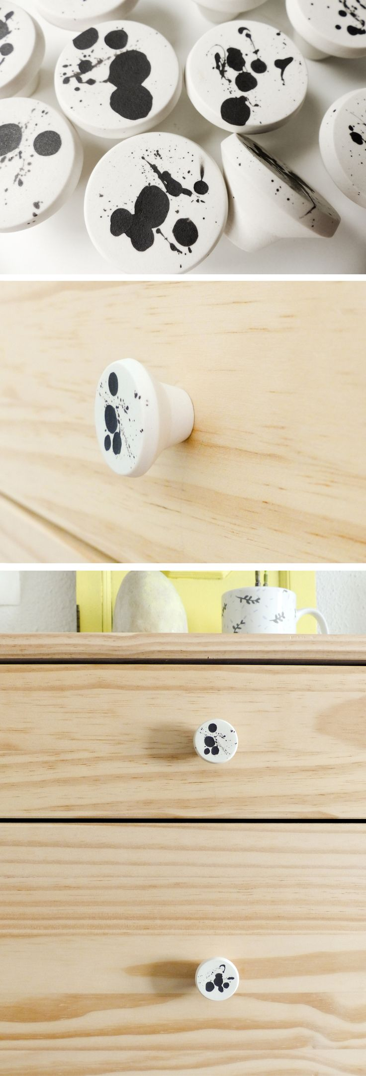 Handmade ceramic knobs and small wall hangers. Made in porcelain. Soft matte unglazed finishing. Black and white.