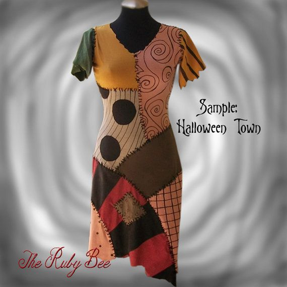 Sally Costume Nightmare Before Christmas Handmade Patchwork Dress Custom Order Tween Teen or Adult Size by the Ruby Bee