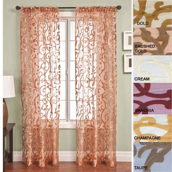 84 Long Panel Amalfi Embellished Sheer Curtain Panel