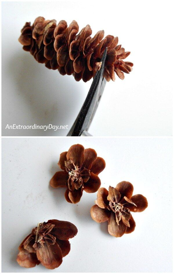 Cut flowers from pine cones with a good pair of sharp snips to make Christmas ornaments