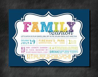 DIY Family Reunion Invitations | Popular items for family reunion