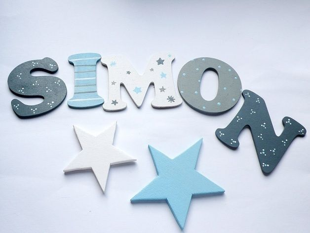 **In liebevoller Handarbeit werden bei uns die Buchstaben für Eure Kleinen angefertigt.**   Mit den mitgelieferten Klebepunkten haften sie perfekt auf der Türe, Regale, Betten und auf vielem...