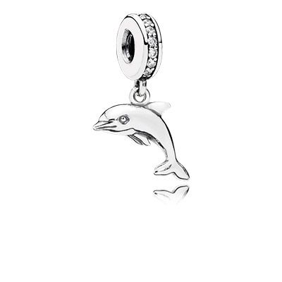 Dolphins represent grace, playfulness and intelligence. Add a fun element to your ocean-themed bracelet with this cute dolphin dangle charm in sterling silver. #PANDORA #PANDORAcharm