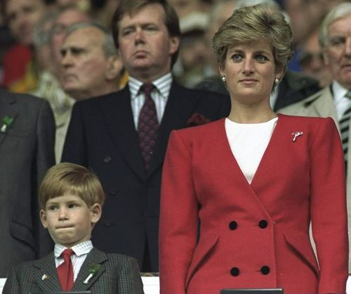 Princess Diana and Prince Harry watching a Welsh rugby match.