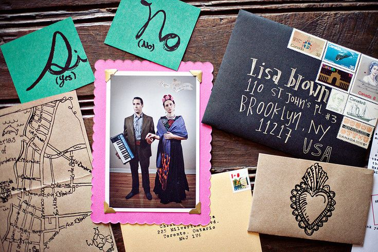 super funky, totally different invites--- loving this idea for a frida khalo inspired wedding!