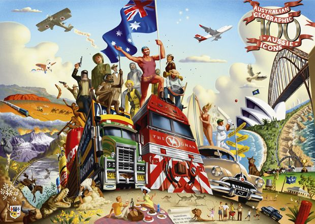 Illustrator Jim Tzinganos has artfully woven the 100 distinct and individual Australian icons into one image.
