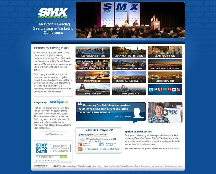 Search Markeing Expo. Search Engine Marketing Conference. Nicely done main page.