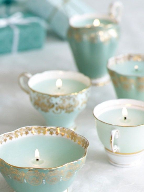 Teacup candles-- pair with pearls and lace or Alice in Wonderland. Also can use champagne flutes, goblets, or Morrocan tea cups.