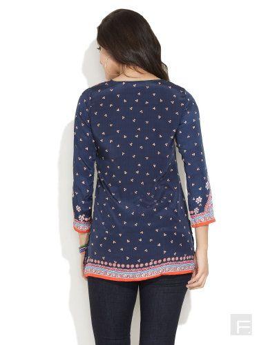 BIBA Biba Rajasthan Print Inspired Kurti | Buy Medium Blue Short Length | Shop Online India