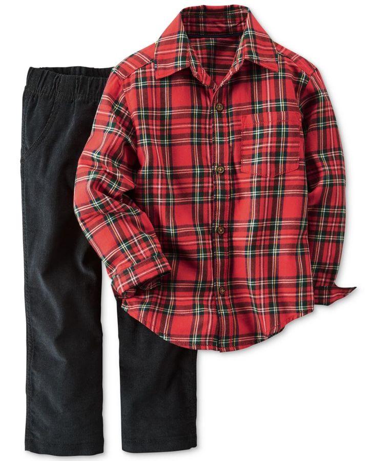 Carter's Toddler Boys' 2-Pc. Plaid Flannel Shirt & Pants Set